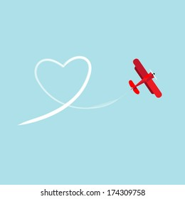 Biplane and heart in the sky. Vector illustration biplane drawing a heart in the sky.