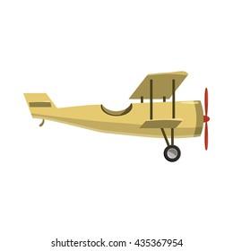 Biplane icon, cartoon style