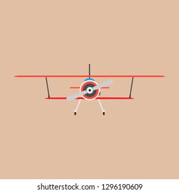 Biplane red front view vector icon transportation. Engine wing vehicle adventure plane concept. Vintage illustration