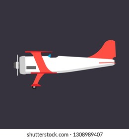Biplane red side view vector icon transportation. Engine wing vehicle adventure plane concept. Vintage illustration