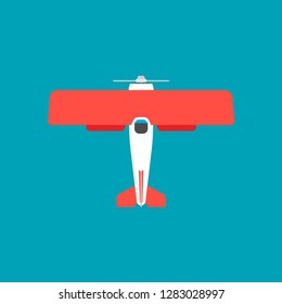 Biplane red top view vector icon transportation. Engine wing vehicle adventure plane concept. Vintage illustration