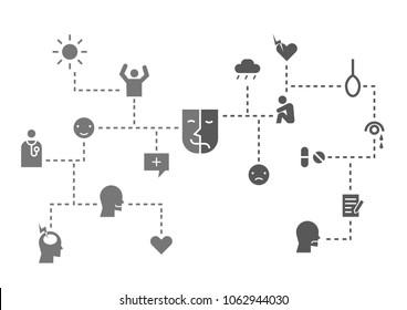 bipolar disease icon set