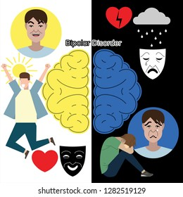 Bipolar disorder concept. Set of flat illustration about mental health: apathy, depression, bipolar disorder and psychotherapy. Young man at different poses and conditions.