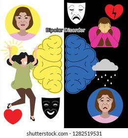 Bipolar disorder concept. Set of  flat illustration about mental health: apathy, depression, bipolar disorder and psychotherapy. Young girl at different poses and conditions.