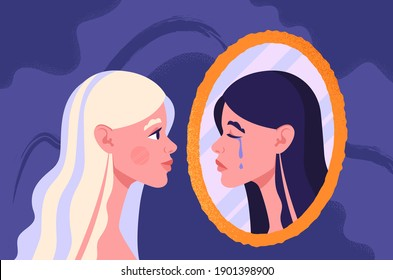 Bipolar disorder concept. Young woman suffering from bipolar disorder, psychological diseases, schizophrenia. Happy woman looking at her sad crying reflection in mirror. Flat vector illustration.