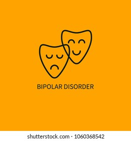 Bipolar disorder icon. Smiling and sad masks. Vector illustration