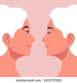 Bipolar disorder. Portrait of an older woman in profile in depression and in a good mood. Two female faces from the side. Vector illustration in flat style