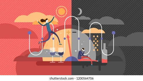 Bipolar disorder psychological state diagnosis concept, flat vector illustration, expressive happiness and depression, unstable patient mood, contrasting feelings with cheerful and frustrated person