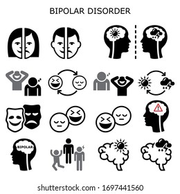 Bipolar disorder vector icons - mental health concept, people experiencing extreme happiness and sadness. Manic depression, bipolar affective disorder BPAD, depression and elevated moods idea, medical