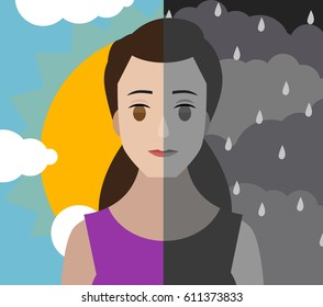 bipolar double personality mental disorder girl woman  cloudy and shiny sky