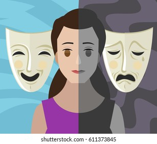 bipolar double personality mental disorder girl woman theater masks
