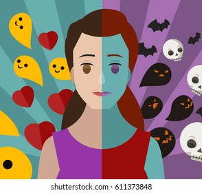 bipolar double personality mental disorder girl woman bad and good thoughs