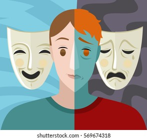 bipolar double split face theater masks