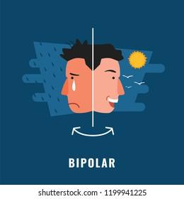 Bipolar. Psychological disorder. Mental health illustration