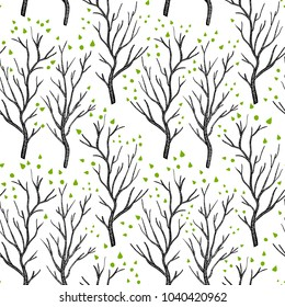 Birch or aspen brown trees in spring with small green leaves on white seamless pattern, vector