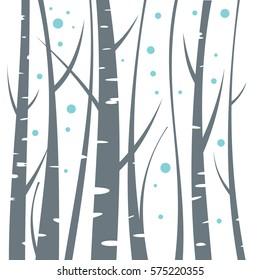 Birch flat illustration on white background. Vector illustration
