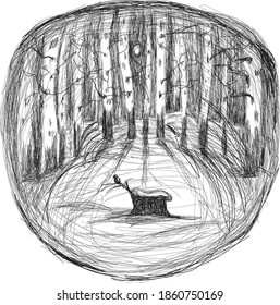 Birch forest snow tree stump with a bird Zimny beautiful landscape in the forest Bereza freehand drawing risunok s head nature forest joy Pencil sketch Emotional style Linear shading Expression