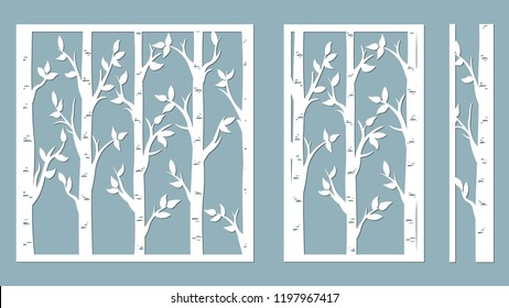 Birch Grove background. Vector birch or aspen trees with leaves. Pattern suitable for laser cutting or print. Template for plotter and screen printing. serigraphy
