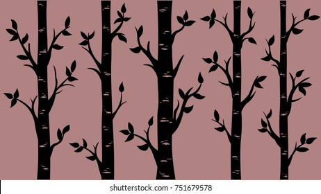 Birch Grove background. Vector birch or aspen trees with leaves. Pattern suitable for laser cutting or print.