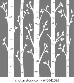 Birch Grove background for your design. Vector birch or aspen trees with leaves. Set of laser cut birch trees. Pattern suitable for laser cutting or print.