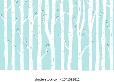 Birch tree background. Vector illustration with birch tree for nature design