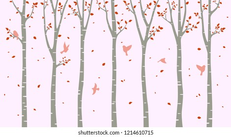 Birch tree with birds silhouette background