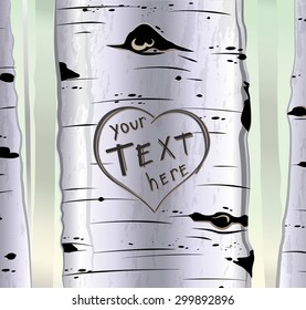 Birch tree with carved hearts and place for text vector illustration