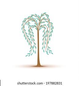 birch tree decoration on white background