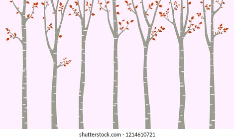 Birch tree with red leaf