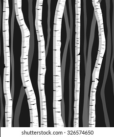 Birch tree repeating pattern. Hand drawn silhouettes.
