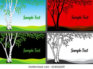 Birch Tree Vector  Illustration. Birch tree in color, silhouette and  black and white template card set.
