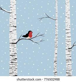 Birch trees on winter background. Vector illustration.