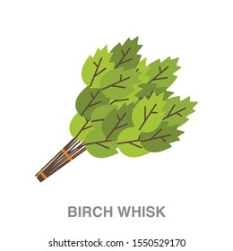 Birch whisk flat icon on white transparent background. You can be used birch whisk icon for several purposes.