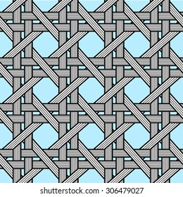 Birchbark Basketwork Seamless pattern.  Black and white on transparent background (blue is an example of your background).