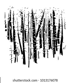 birchwood, vector, black-and-white computer graphics, drawing a feather, a picturesque sketch, EPS, a background for wall-paper both for printing and on fabric. Winter