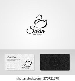 Bird abstract logo template. Vector icon. Business concept. Black swan. Cosmetics, beauty, health & spa, fashion themes.