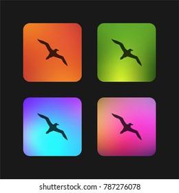 Bird albatross flying shape four color gradient app icon design