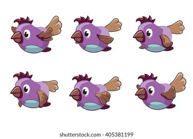Bird animation vector frames. Animation bird, animal fly animation, cartoon animation sequence illustration