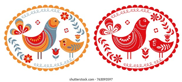 A bird with a baby bird in the oval-patterned frame. Logo, emblem, mascot, stamp. Folk art.