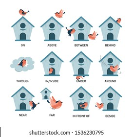 Bird and birdhouse, learning preposition vector isolated. Preschool education, study position of the object. Front side and behind. Bird fly above and around the birdhouse.