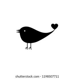 bird black heart icon