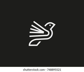 Bird book vector logotype.