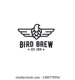bird and brew abstrack logo / brewing logo vector inspiration with line art