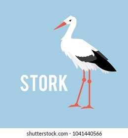 Bird bringing children. Stork isolated on white background, standing stork in flat style.