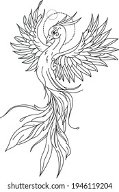 bird bringing happiness good luck well-being. Vector graphics