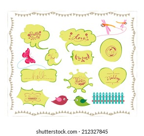 bird and butterfly bubbles set