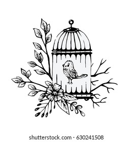 vintage vector illustration white dove cage stock vector royalty Bird Cages Outside bird in a cage black and white illustration