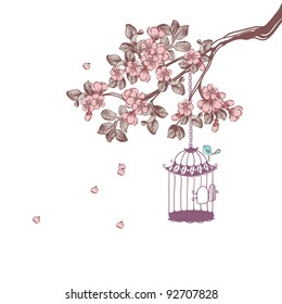 bird cage hanging from cherry blossom branch