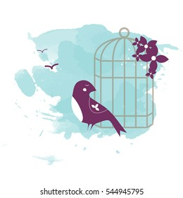 Bird with a cage on blue background vector illustration. Perfect for the presents and gifts cards for the holiday or any special occasion.