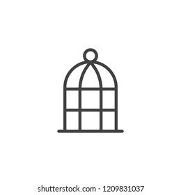 Bird cage outline icon. linear style sign for mobile concept and web design. bird cell simple line vector icon. Symbol, logo illustration. Pixel perfect vector graphics